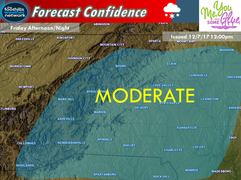 Moderate confidence.  Now it isn't that the SW mountains are not going to get snow, we just don't believe it will be from this system.  The areas West of Cullowhee stand the best chance of snow Saturday Night into Sunday with a clipper type system that produces NW flow snow.