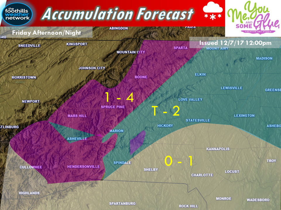 This is a very elevation dependent snowfall.  The highest ridge tops in the South Mountains will see more accumulation than the valleys.  Any elevation over 3000ft will see higher accumulations than the valleys.  That's why we have limited accumulations over Asheville and the French Broad River Valley.  Even up high this is a wide margin for error.  Temps of one or two degrees difference can mean the difference between an inch and no accumulation.
