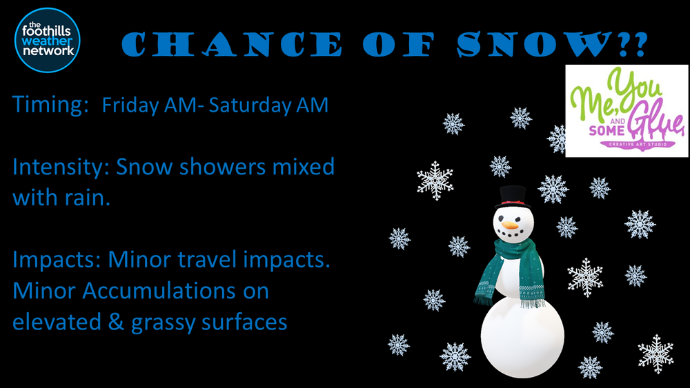 Timing has been extended through Saturday Morning.  Snow will develop Friday and mix with rain. Minor travel impacts and minor accumulations are possible by Friday Night.