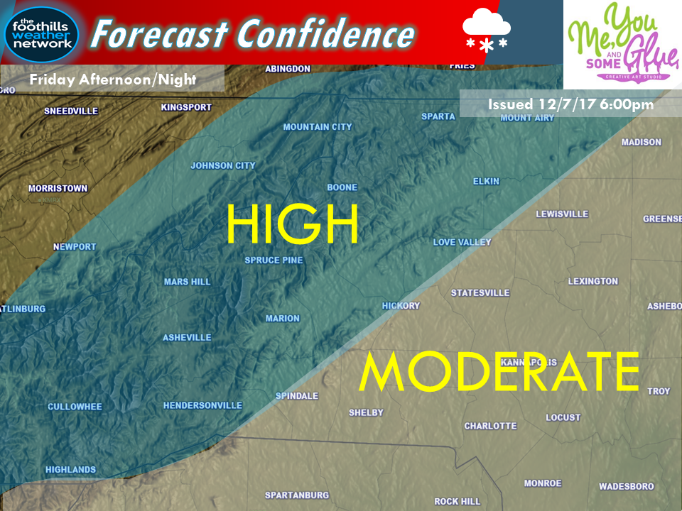 Forecast confidence that snow will fall.