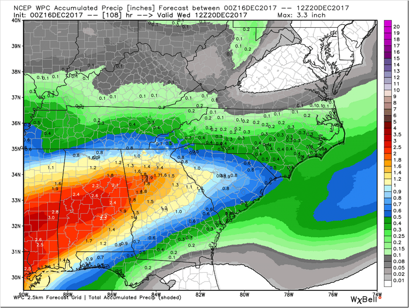 WPC precip forecast througb Wednesday 7 am