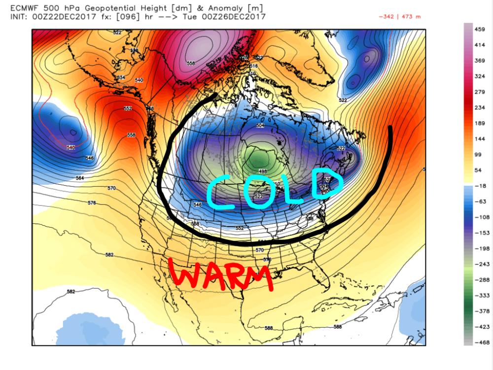 European Model (ECMWF) 500-mb height anomalies for Monday