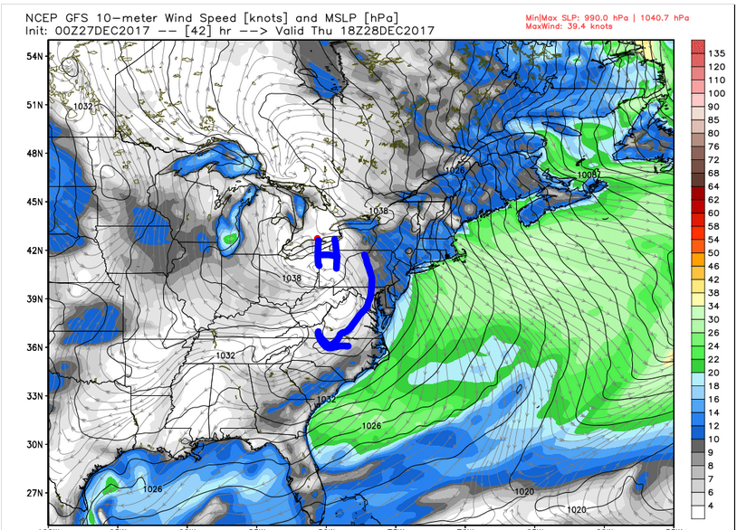 GFS Surface Map (7 am Thursday morning)