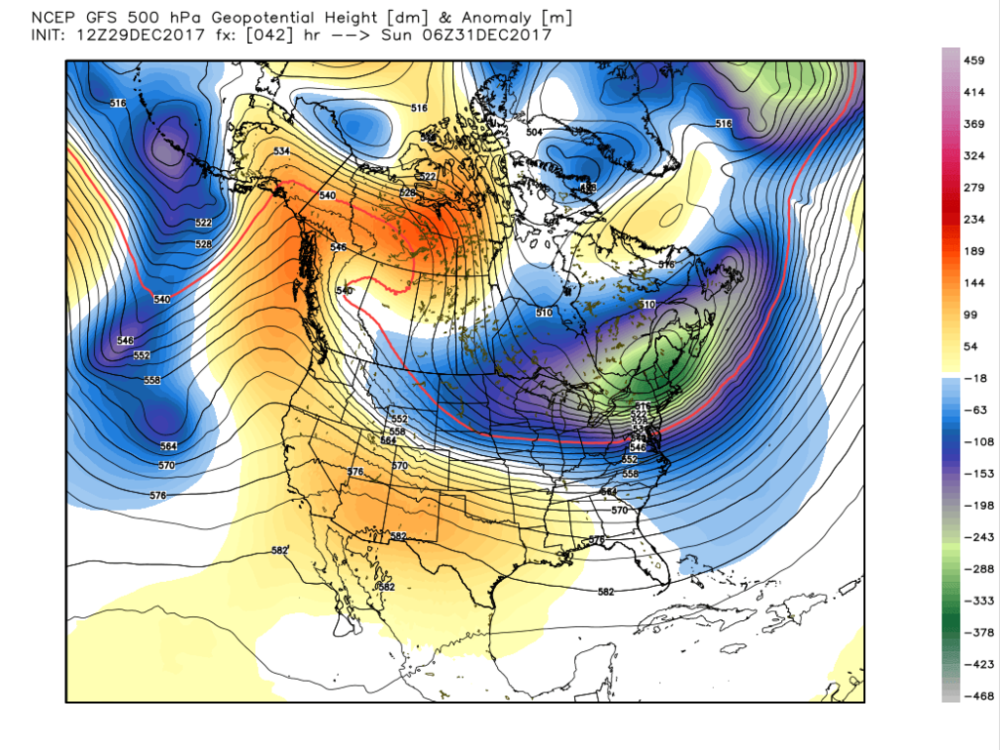 GFS Forecasted 500-hPa Geopotential Height and Height Anomalies for Sunday Morning. Notice how the trough in the east is relatively flat looking. This would suggest somewhat of a backing off of the extreme cold.