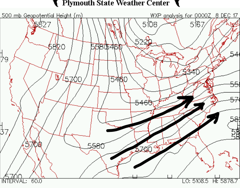 Compare the previous image to this 500-hPa Geopotential Height map from December 8th. On this map, the flow over our area is southwest-to-northeast, which allows disturbances to track up into the Carolinas and tap into Gulf Moisture. This pattern setup led to the winter storm from earlier this month. This and other factors explains why moisture will be limited over the next 7-10 days.