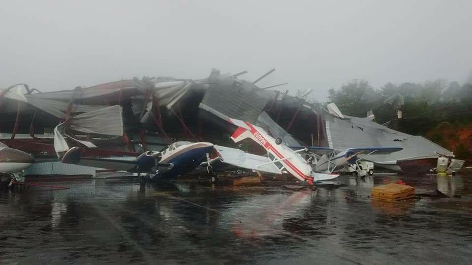 Tornado damage to aircraft at Hickory Regional Airport (October 23rd)