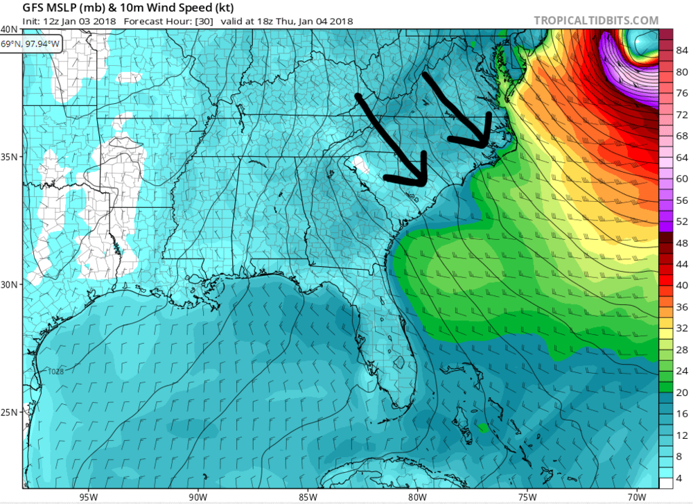 GFS Forecasted winds for 1800 UTC (1 p.m. ET) on Thursday.