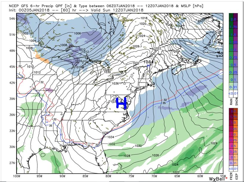GFS Surface Pressure (Sunday 7 am)
