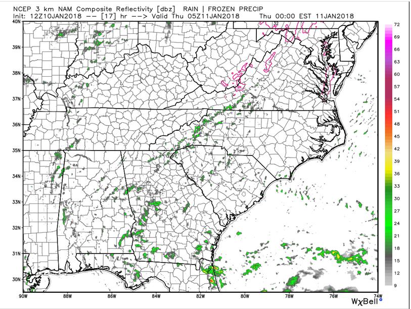 NAM 3km Future Radar: Thursday Midnight (Source: WeatherBell Analytics)