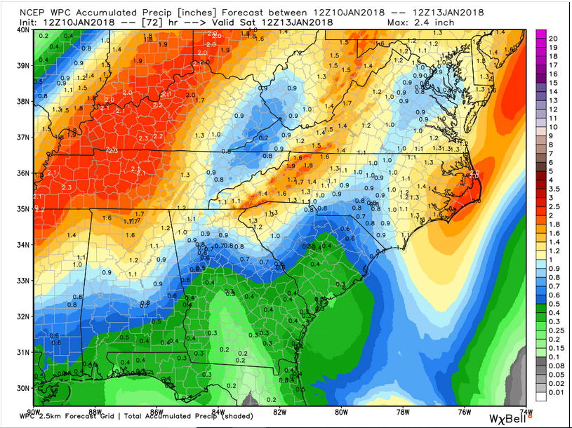 WPC Forecast Precipitation through Saturday 7 am (Source: WeatherBell Analytics)