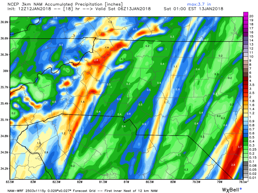 North American Mesoscale Model predicted rainfall for Friday, January 12th through Saturday, January 13th.
