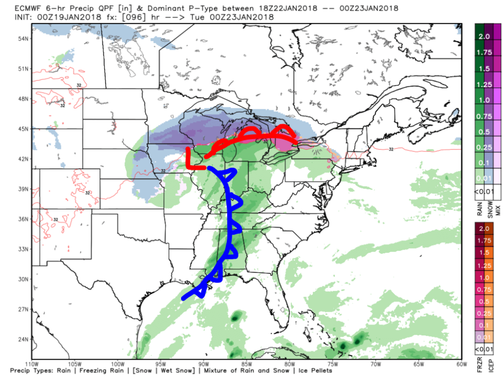 ECMWF Model Forecasted Precipitation for 0000 UTC Tuesday, 23 January with Map Features Analyzed by hand. This map illustrates the setup for Monday night into Tuesday morning.