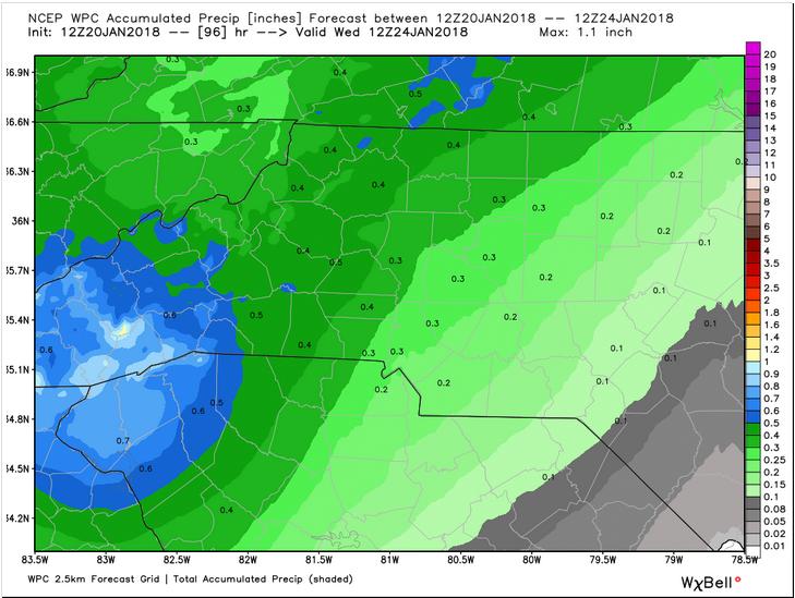 WPC Forecast Precipiation through Wednesday 7 am