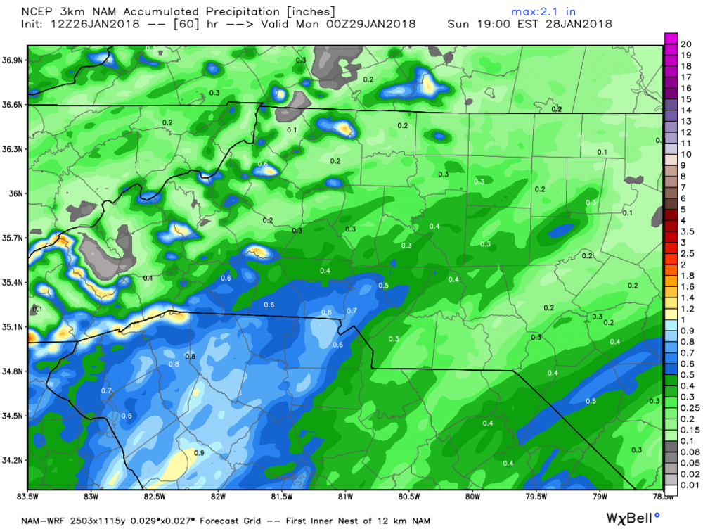 North American Mesoscale (NAM) Model estimated precipitation for this weekend.