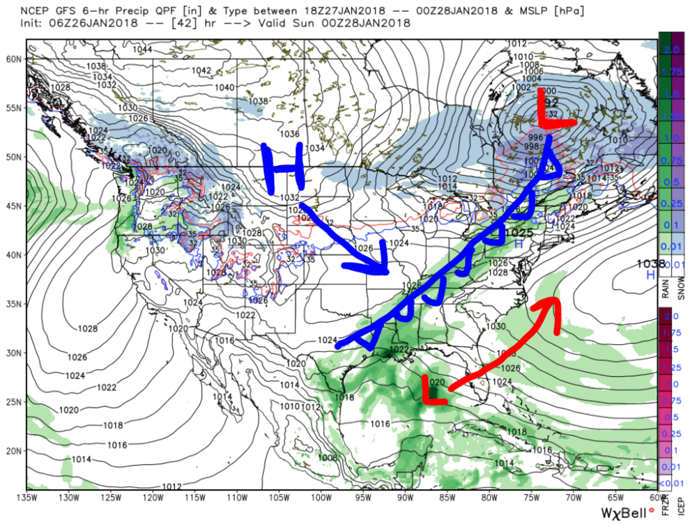 American (GFS) Model Forecasted Precipitation and Mean Sea-Level Pressure for Saturday evening with hand-analyzed surface features. This map shows the general synopsis for this weekend's weather conditions.