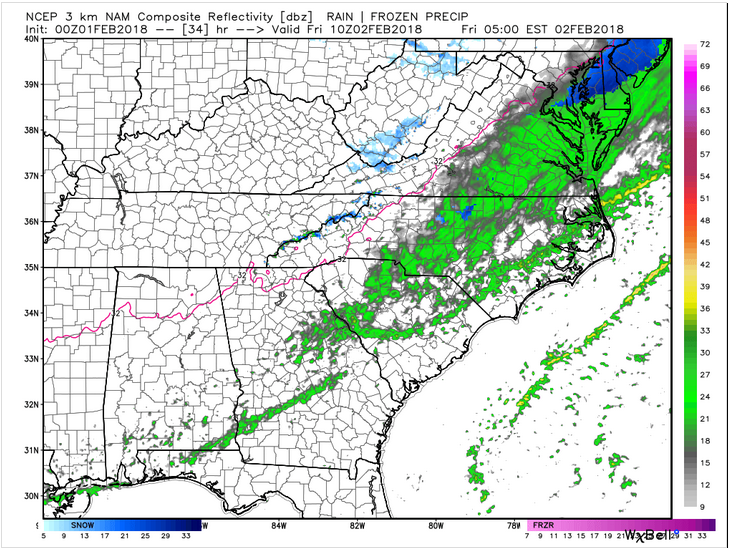 NAM 3km Future Radar (Friday 5 am)