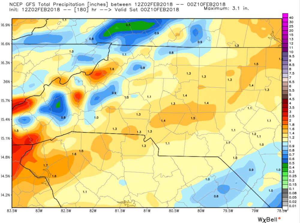 American (GFS) Model forecasted precipitation amounts for the next 7 days.