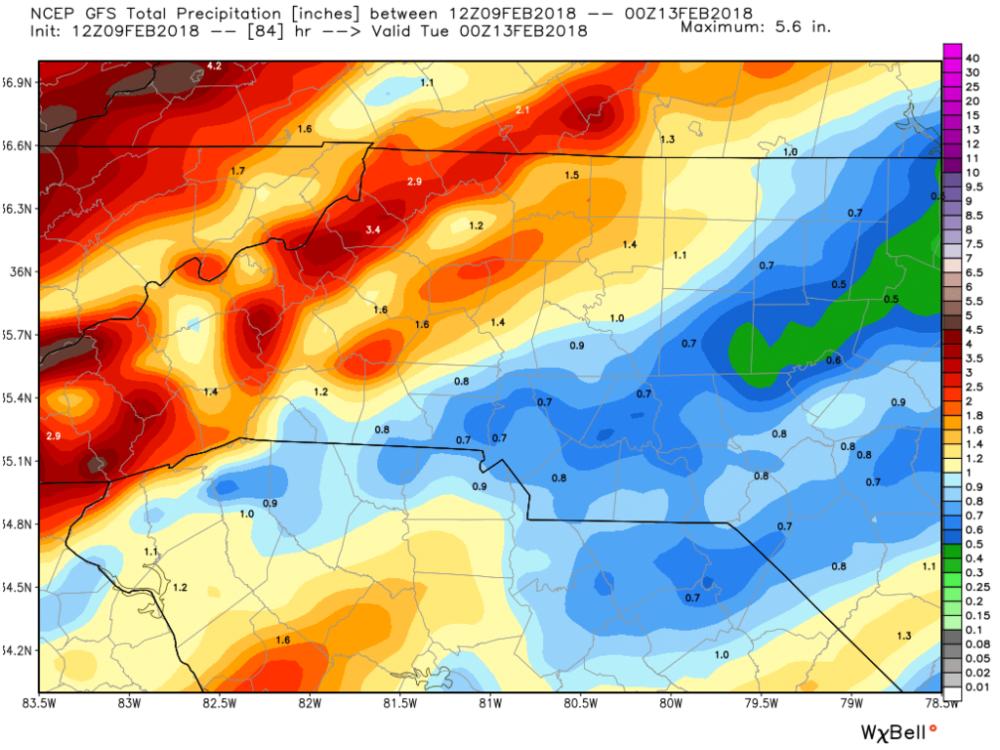 American (GFS) Model estimated precipitation through Monday, 12 February 2018.
