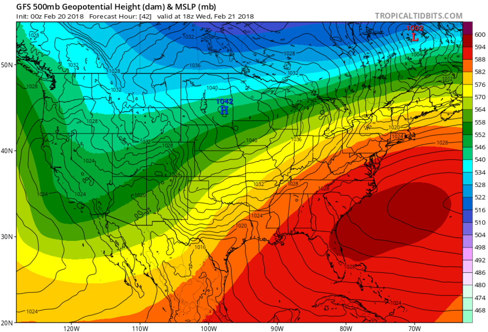High pressure off the SE Coast Wednesday Afternoon