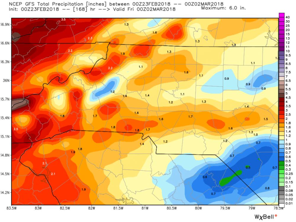 GFS (American) Model Estimated Precipitation for the Next Seven Days