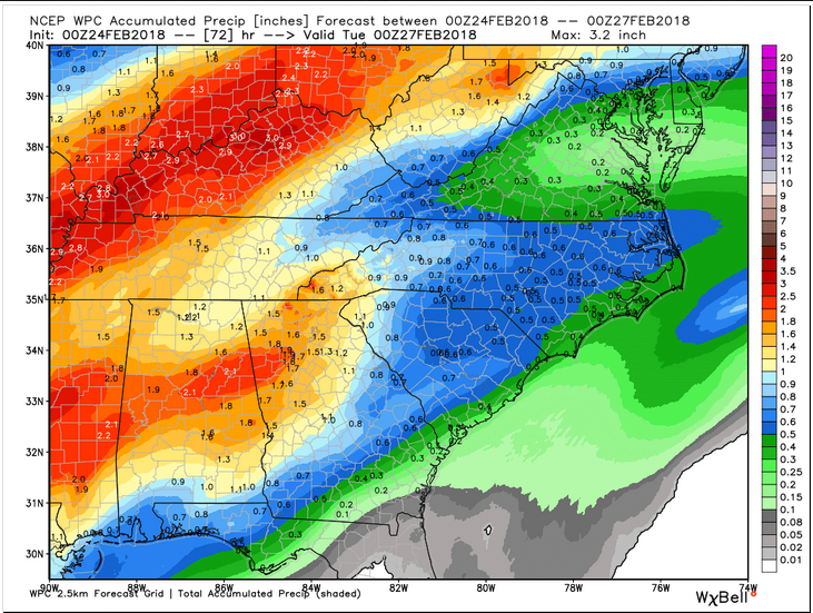Weather Prediction Center Rainfall Forecast through Monday 7 pm