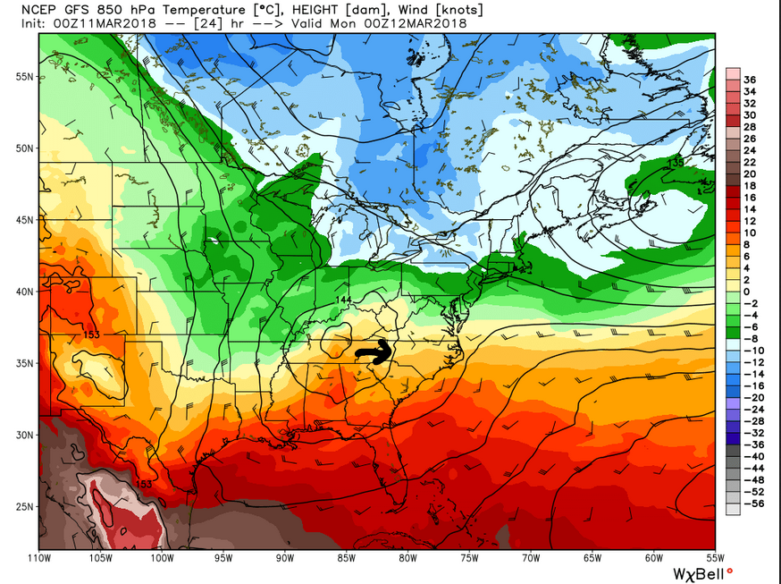 GFS 850 mb heights (8 pm tonight)