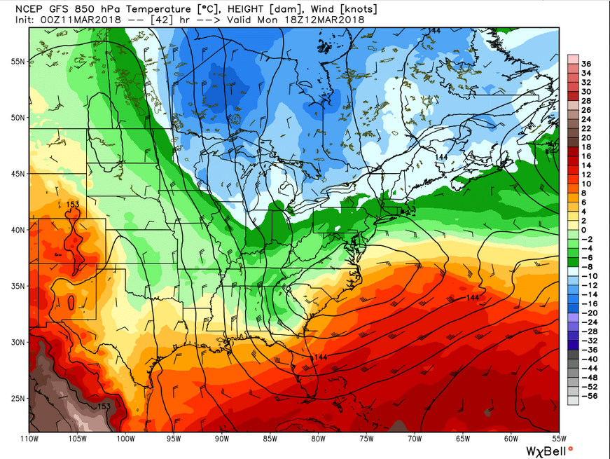 GFS 850 mb heights (2 pm Monday)