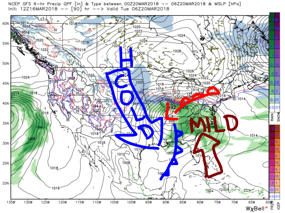 American Model Forecast for Tuesday, March 20th. This image depicts the general setup.