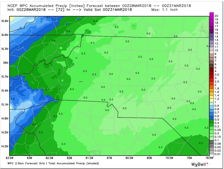 WPC Precipitation forecast through Friday evening