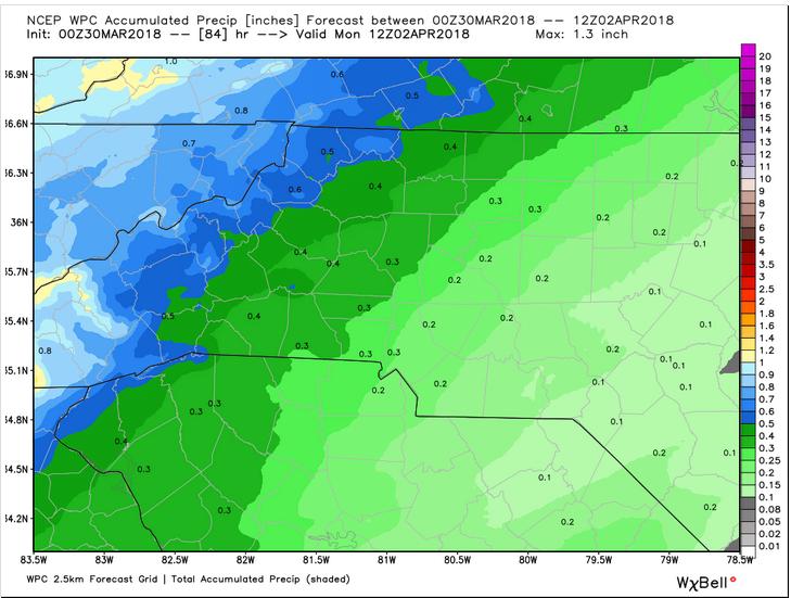 WPC Precip Forecast through Monday 8 am