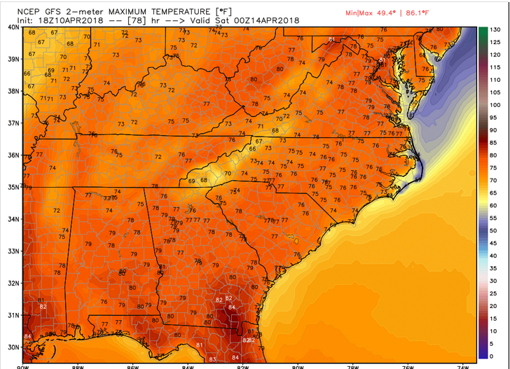 Computer Model Projected HIghs (Friday afternoon)