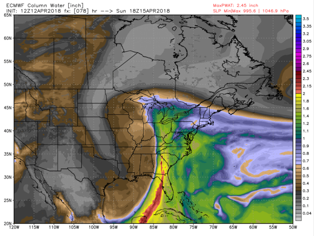 European Model Estimated Moisture Concentration for 2 p.m. Sunday. Brown and Grey colors indicate drier conditions, while Green, Yellow, and Orange colors indicate moist conditions. You can see the Gulf Moisture being pulled up by this weekend's storm system in this image.
