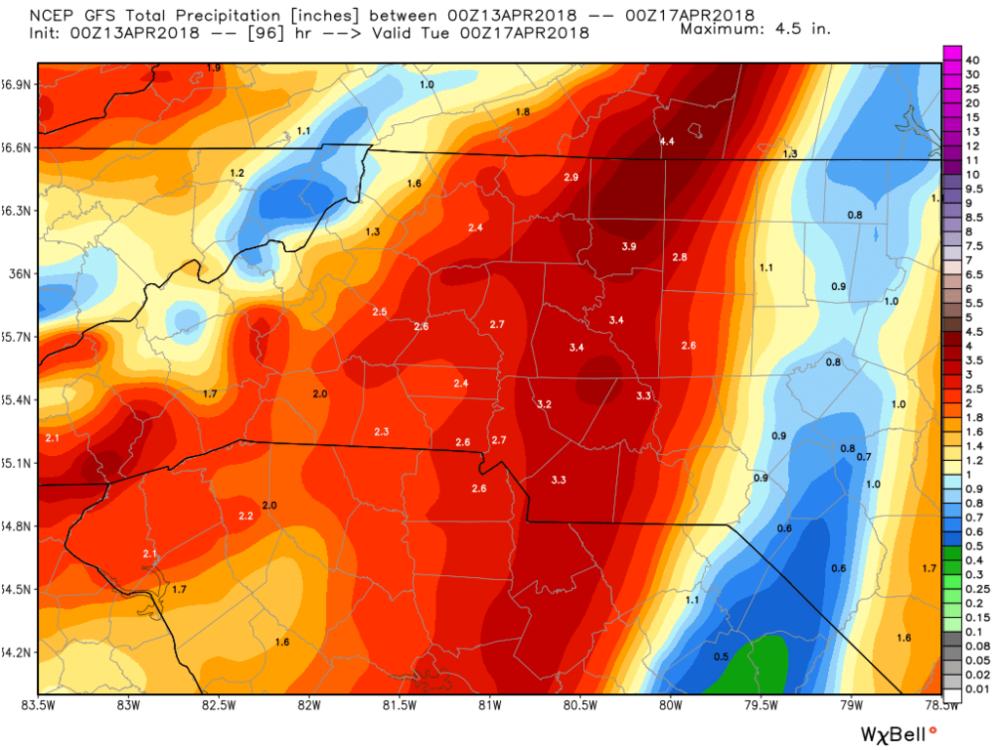 GFS (American) Model Estimated Precipitation through 8 p.m Monday