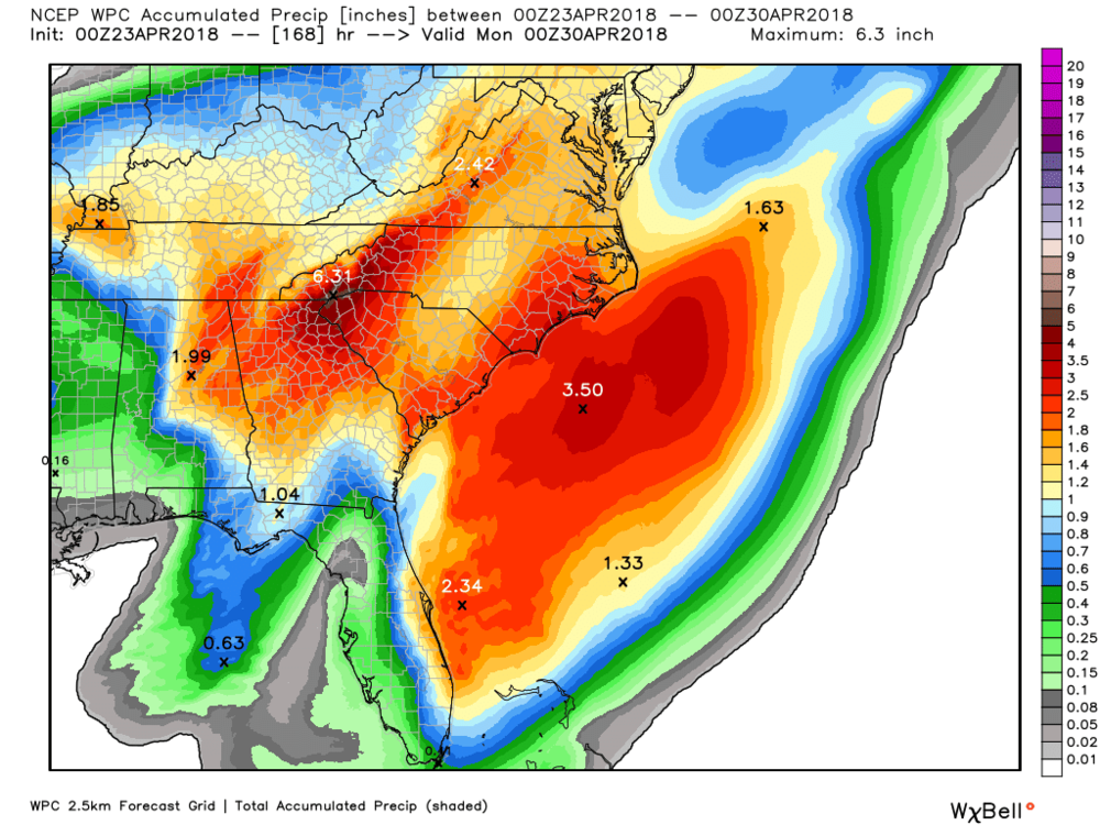 Weather Predictions Center Rainfall Forecast through next Monday April 30th.