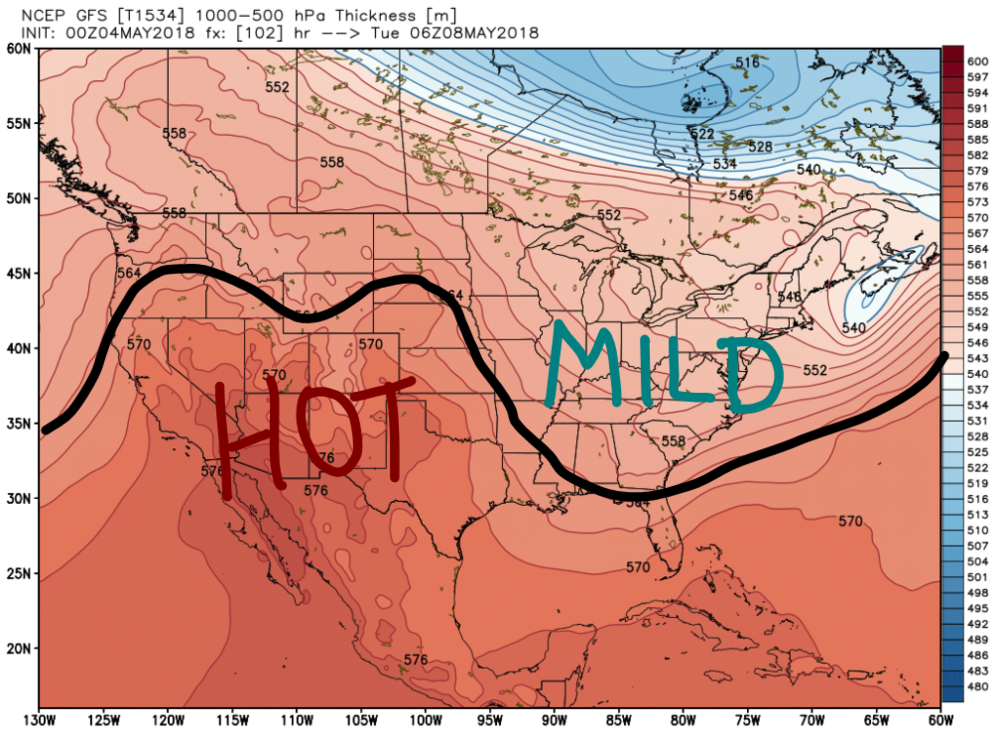 "Ridge-Trough Pattern for the Early-to-Middle part of next week. Relative temperatures are given by the ""hot"" and ""mild"" labels."