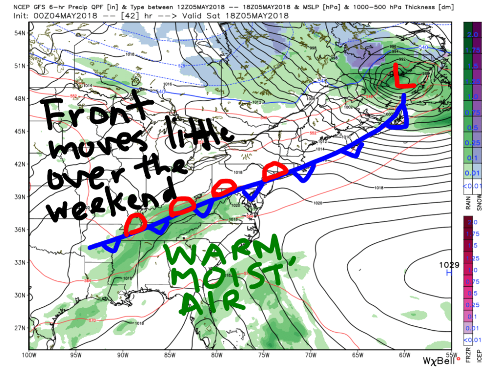 GFS Model-Forecasted setup for this weekend. Important surface features are labeled on the map.