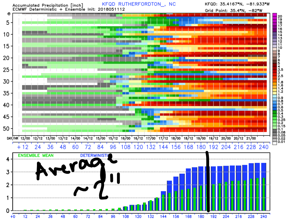 European Ensembles for Precipitation for Rutherfordton