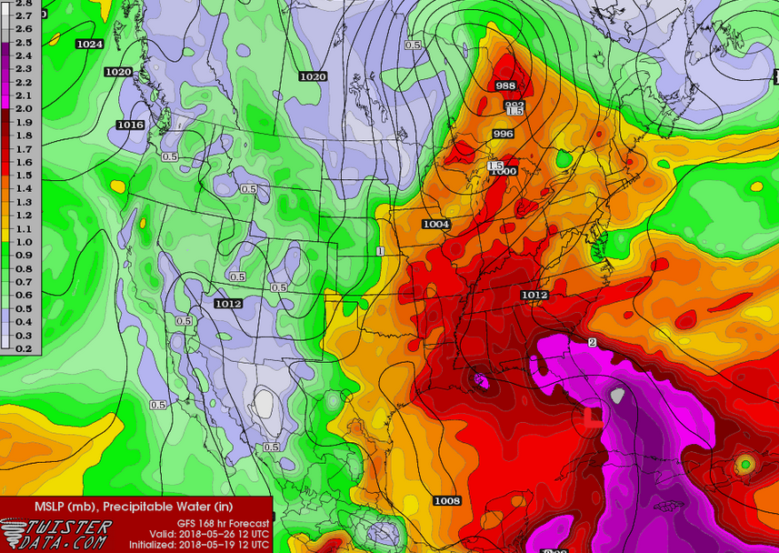 Possible tropical feature next weekend? Deep moisture surges north again...