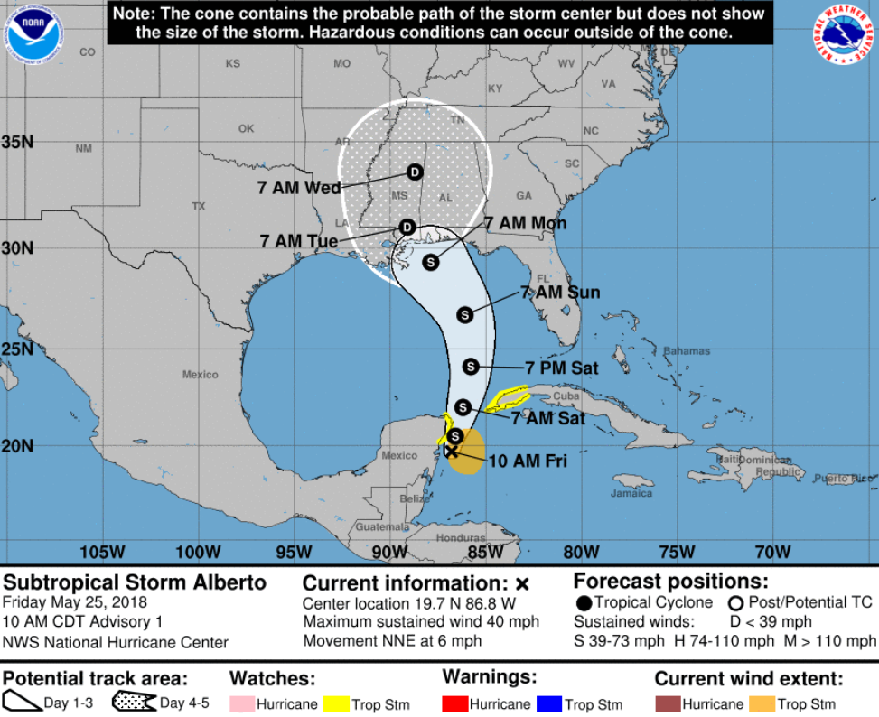 National Hurricane Center Advisory 01 for Subtropical Storm Alberto, 10 a.m. CDT, 5/25/18