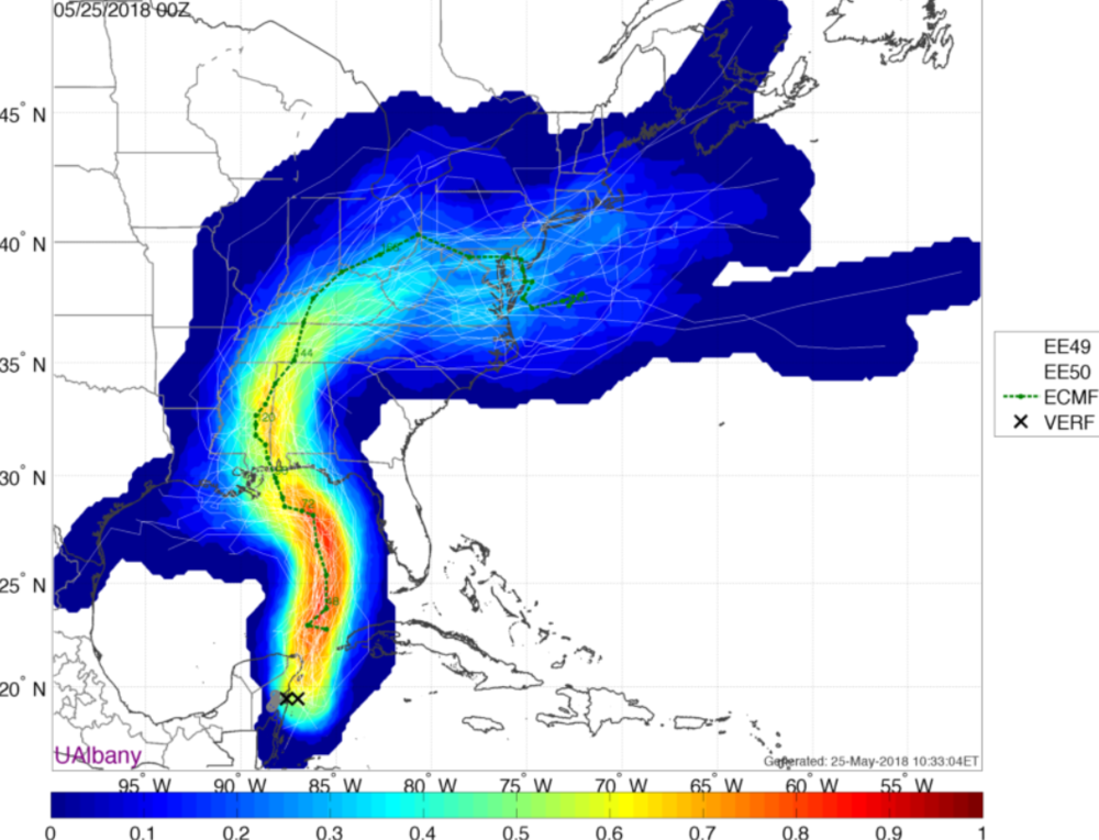 European Ensemble forecasts for the track of Subtropical Storm Alberto. Red/Orange colors suggest a higher likelihood of the storm tracking there, while Blue colors suggest a lower likelihood of the storm tracking there.