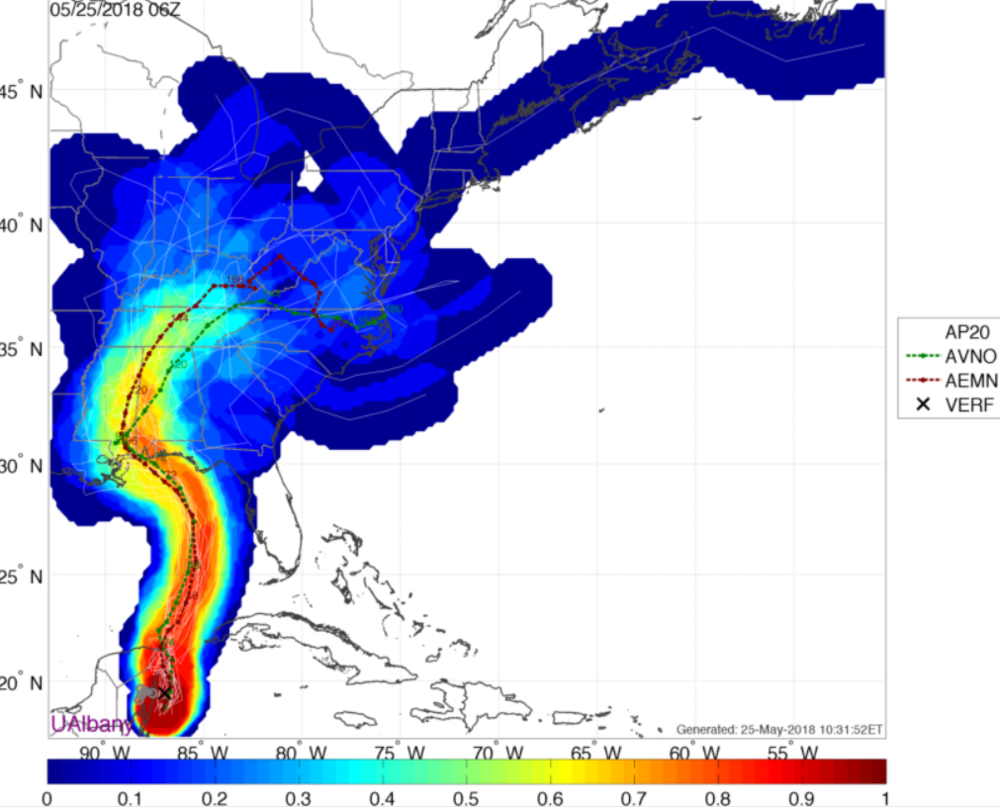 GFS (American) Ensemble forecasts for the track of Subtropical Storm Alberto. Red/Orange colors suggest a higher likelihood of the storm tracking there, while Blue colors suggest a lower likelihood of the storm tracking there.
