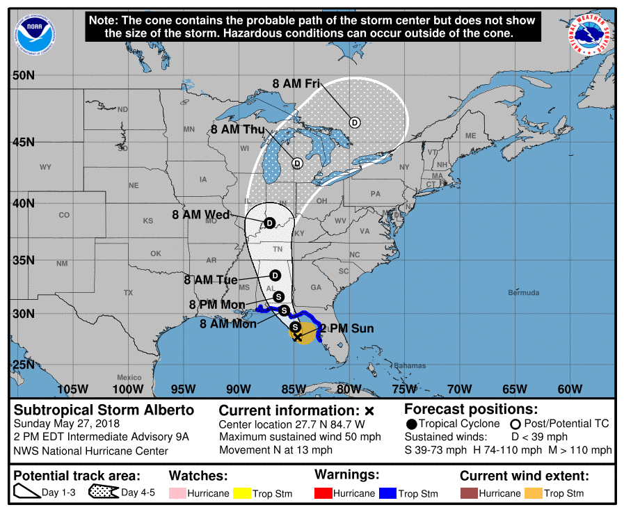 Issued by the NHC at 2pm on Sunday, May 27, 2018