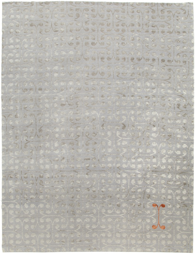 """ARCHON SILVER"" WOOL AND SILK RUG"
