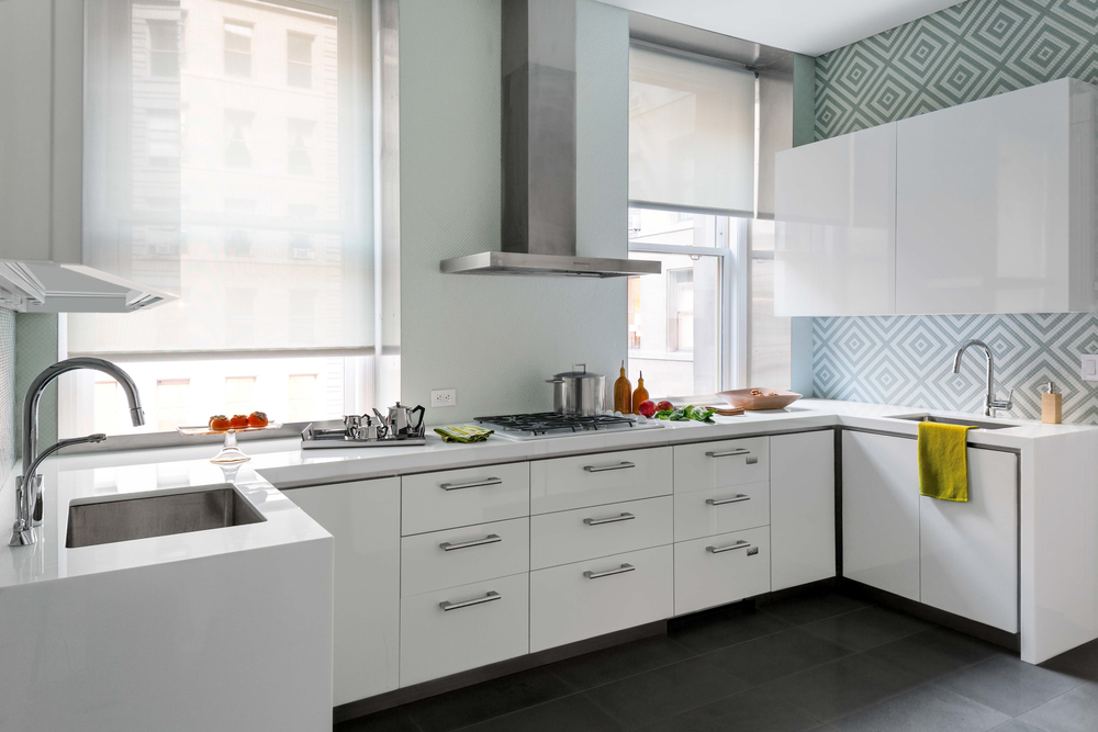 The apthorp elias associates for Shiny white kitchen cabinets