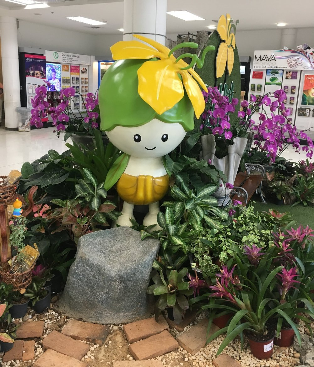 A odd little mascot greeted us at Chiang Mai, which in February is famed for its Flower Festival