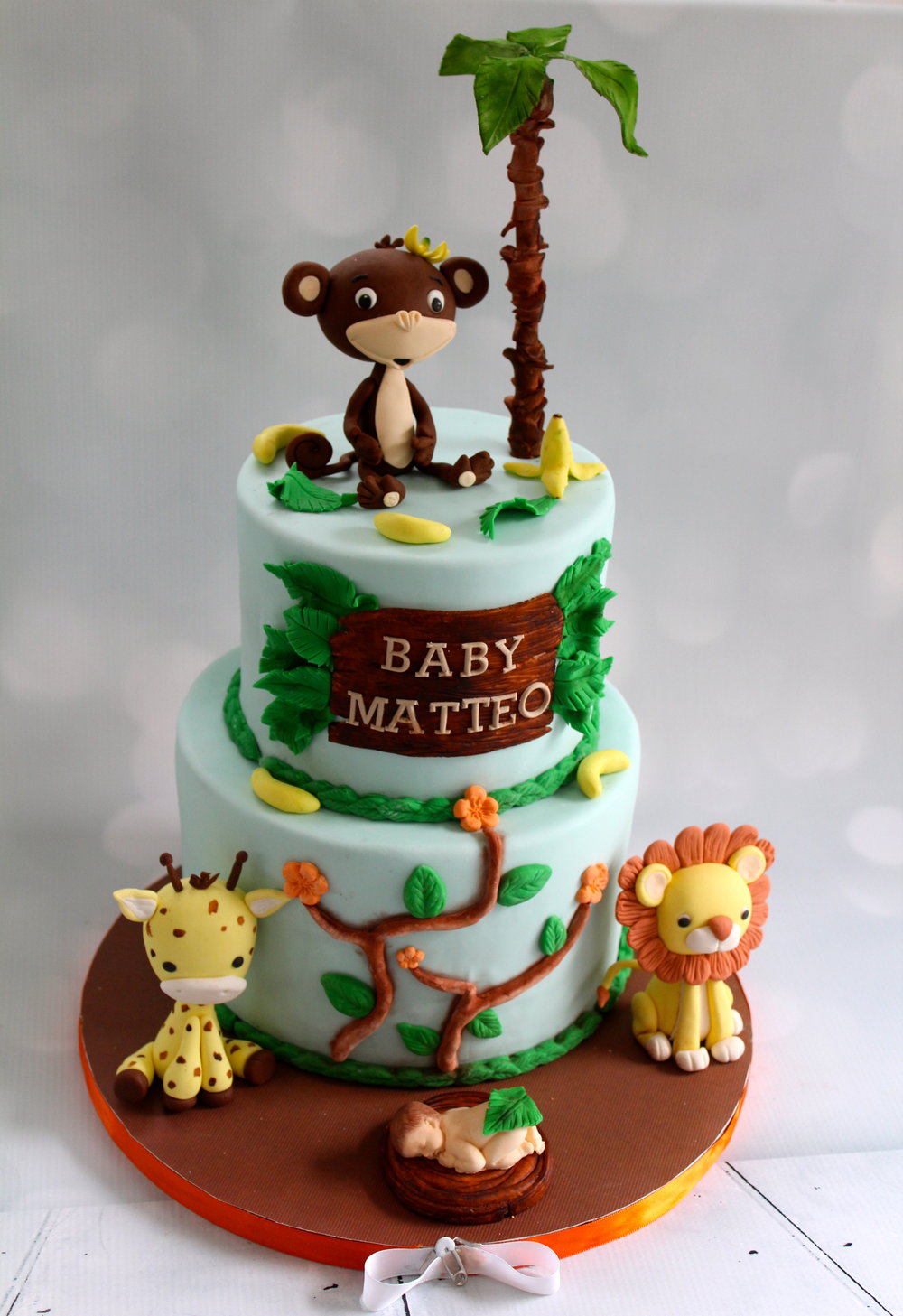 Safari theme baby shower cake