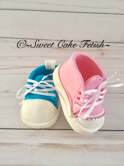 Pink and Blue baby gumpaste shoes