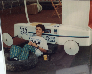 Greg Wood, age 13 in 1992 with his Soap Box Derby Car.