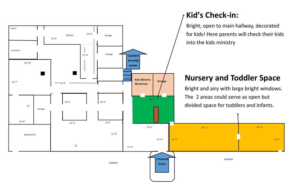 Children's, highlighting check-in and nursery