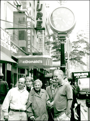 After the installation: From left, Robert Baird   of Historical Arts & Casting, Owner Ann Davenport,   Margot Gayle, Co-Chair of the Neighborhood   Committee to Restore the Yorkville Clock,   Tom Bernardin of Save America's Clocks.   Photo: Bill Perlmutter